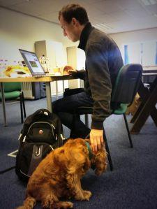 Actor Tobias Menzies rehearsing [photo taken by Sam Heughan]